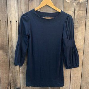 Theory Blue Cotton Wide Neck Blouse, Size S